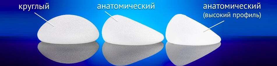 анатомические и круглые импланты для увеличения груди